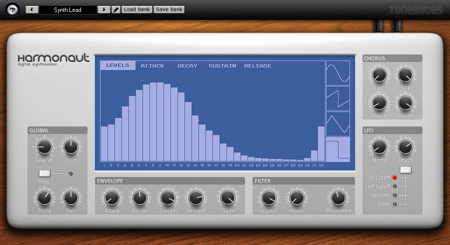 Free additive synth with 32 harmonics